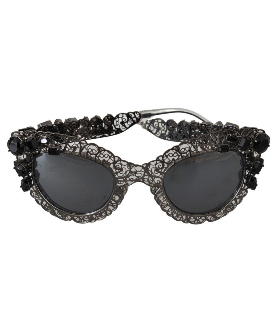 Image for Dolce & Gabbana Metall Filigran DG2134 Schwarz Kristall Logo Sonnenbrille