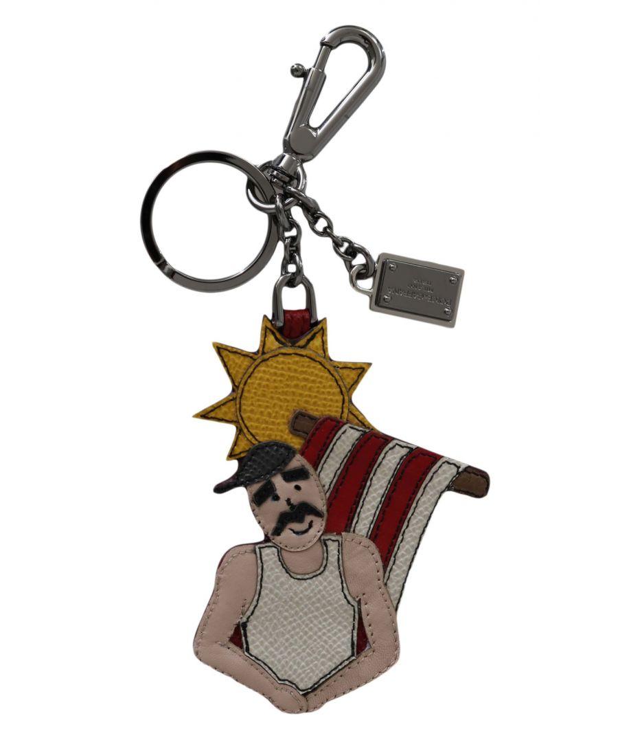 Image for Dolce & Gabbana Leather Sicily Clasp DG Logo Badge Keyring Keychain