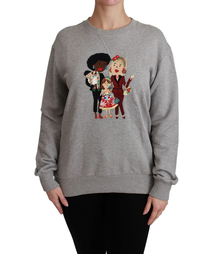 Image for Dolce & Gabbana Gray #dgfamily Cotton Pullover Sweater