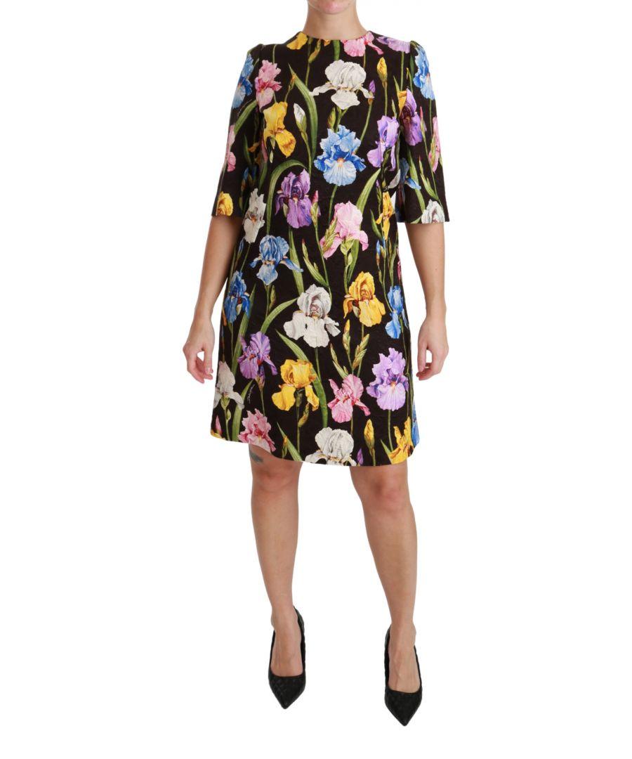 Image for Dolce & Gabbana Black Cotton Silk Floral Shift Dress