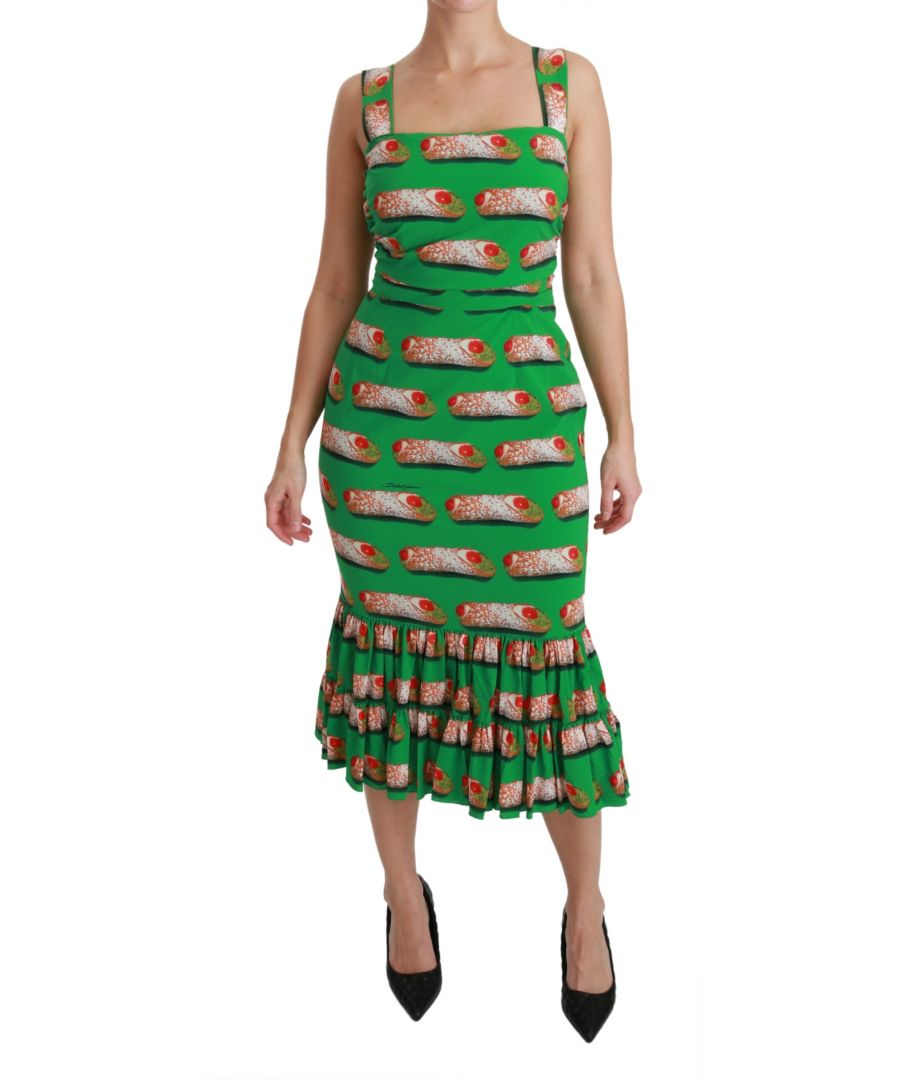Image for Dolce & Gabbana Green Cannoli Bodycon Mermaid Midi Silk Dress