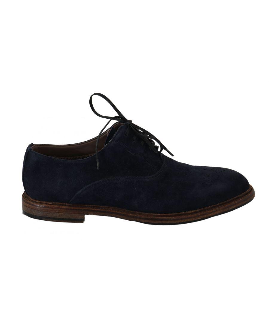 Image for Dolce & Gabbana Blue Leather Marsala Derby Goatskin Shoes