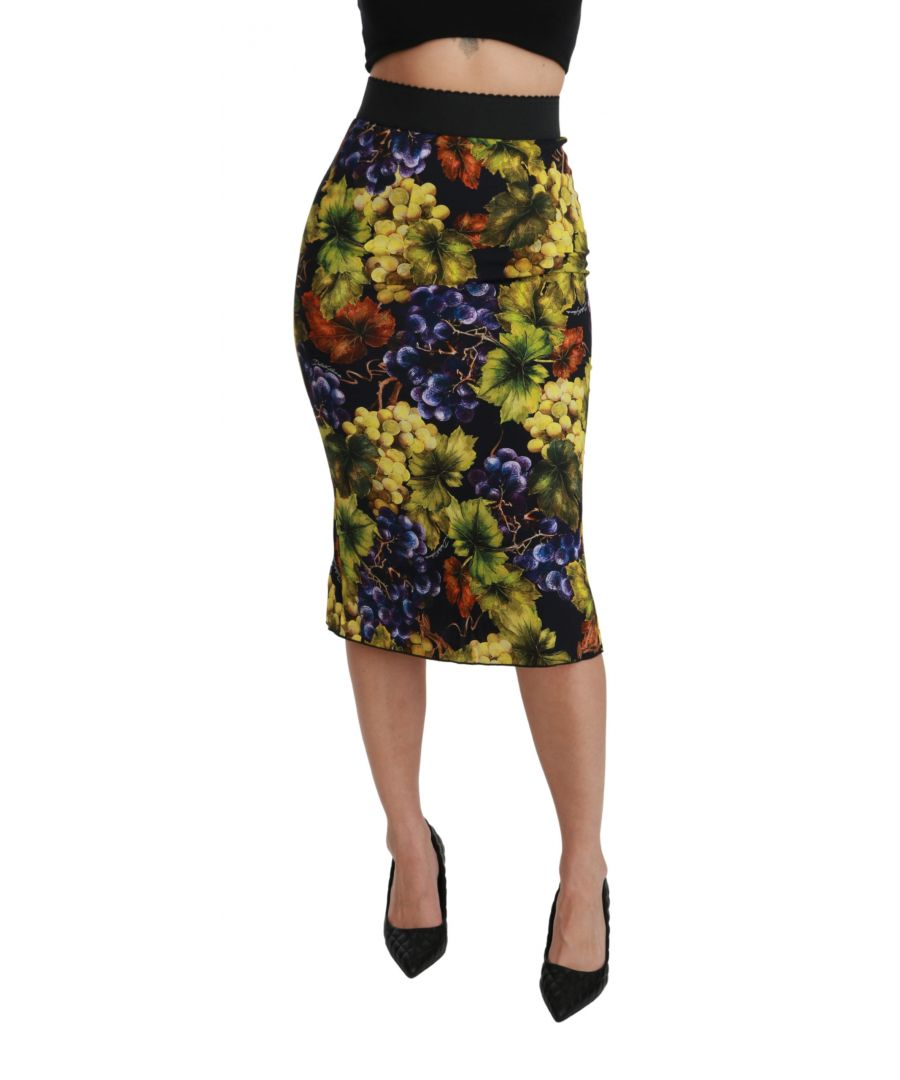Image for Dolce & Gabbana Multicolor Grapes Print Pencil Skirt