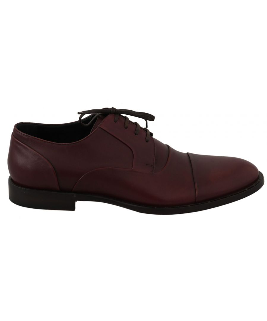 Image for Dolce & Gabbana Red Bordeaux Leather Derby Formal Shoes