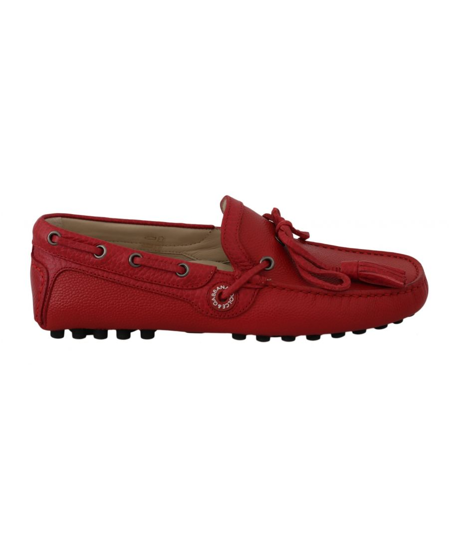 Image for Dolce & Gabbana Red Leather Flat Loafers Moccasin Mens Shoes