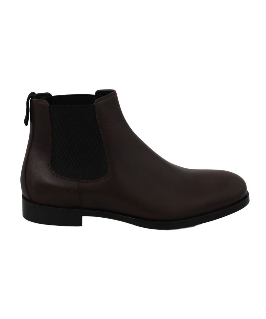 Image for Dolce & Gabbana Brown Leather Stretch Band Boots Derby Shoes