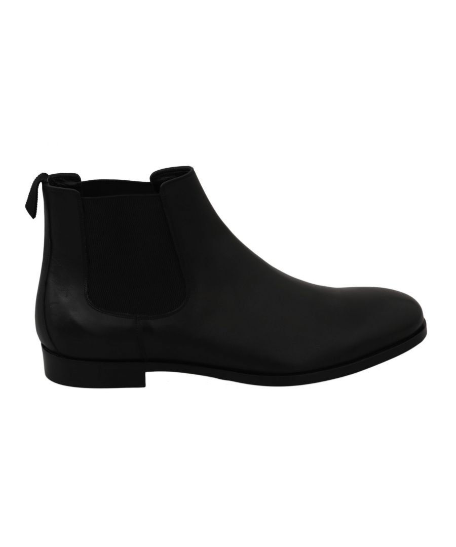 Image for Dolce & Gabbana Black Leather Stretch Band Boots Derby Shoes