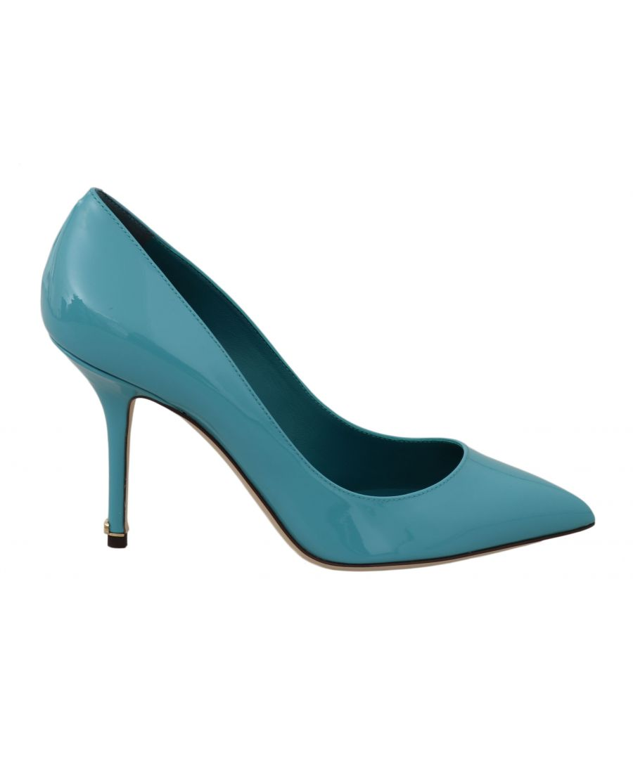 Image for Dolce & Gabbana Blue Patent Leather Heels Pumps Shoes