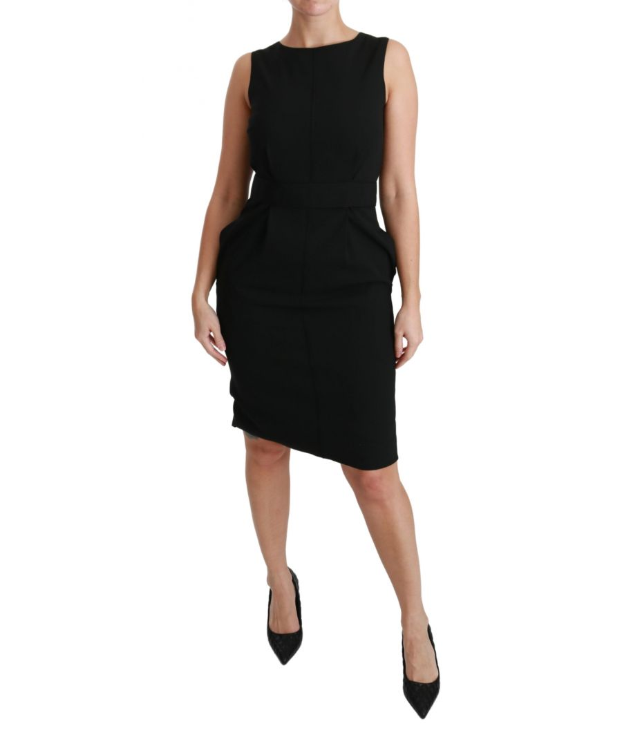 Image for Dolce & Gabbana Black Floral Sheath Stretch Formal Dress