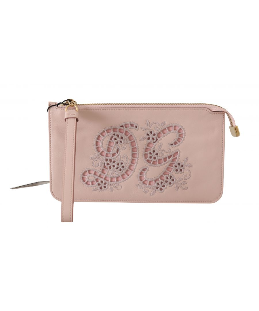 Image for Dolce & Gabbana Pink Leather Zipper Wristlet Toiletry Clutch Wallet