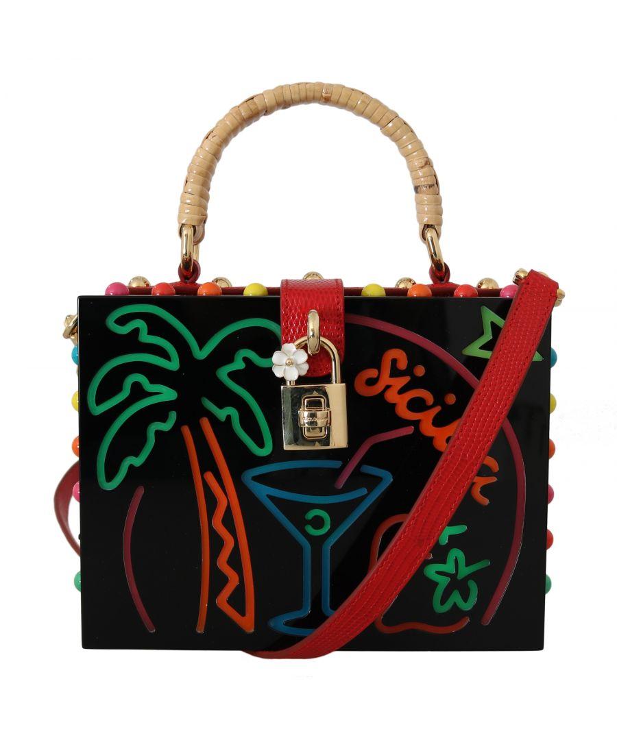 Image for Dolce & Gabbana Black Plexi LED Light Leather SICILY BARP BOX Purse