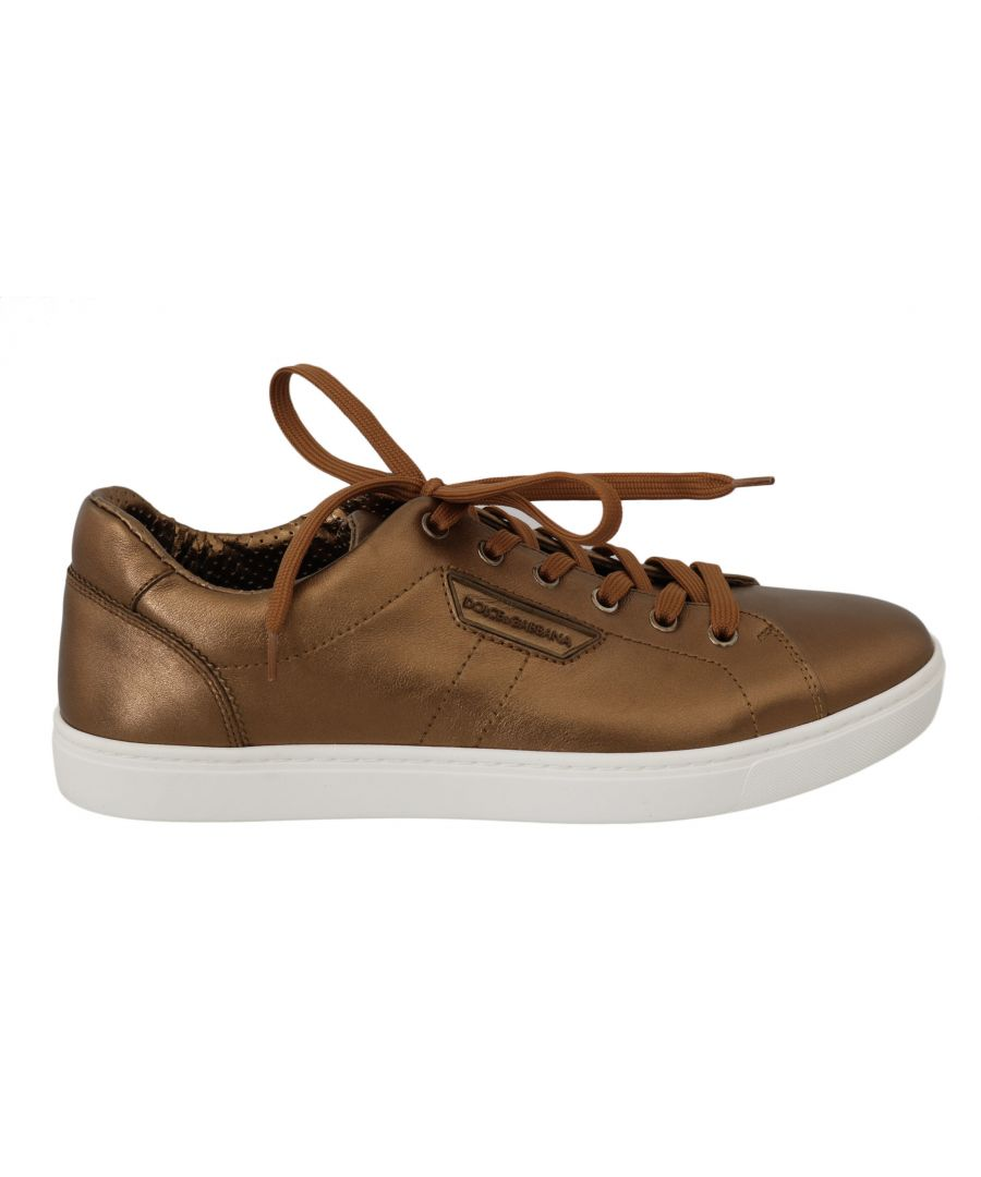Image for Dolce & Gabbana Gold Leather Mens Casual Sneakers