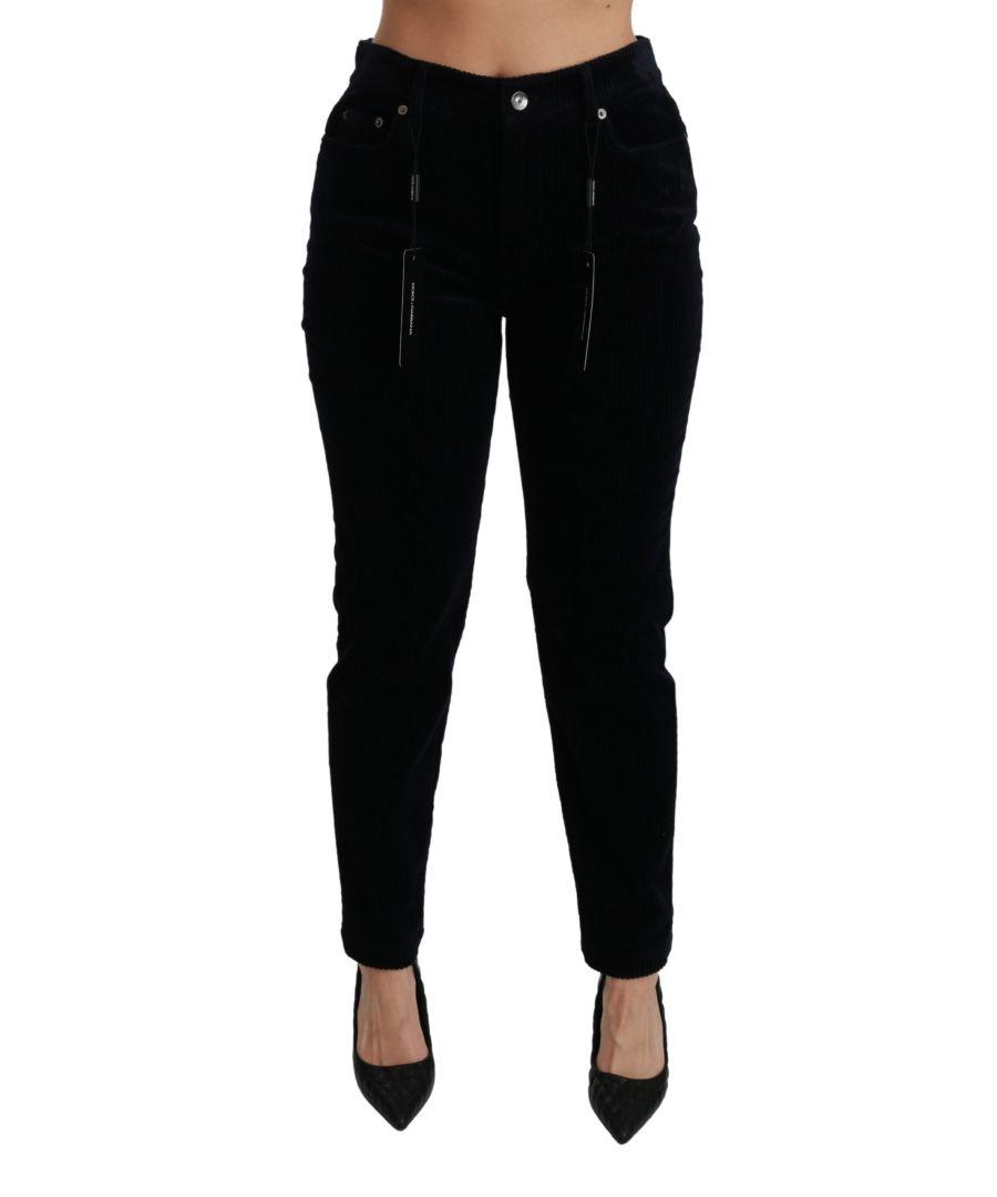 Image for Dolce & Gabbana Blue Corduroy Mid Waist Skinny Pants Jeans