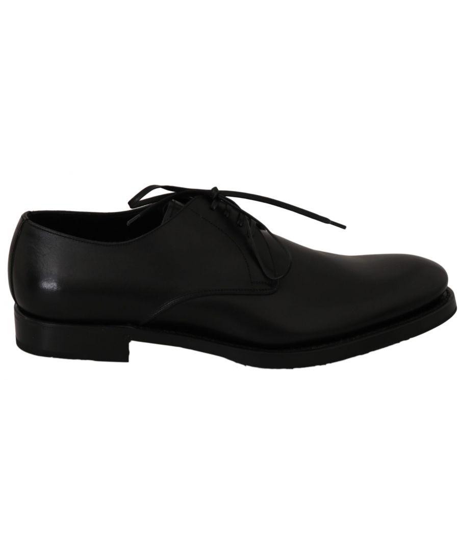 Image for Dolce & Gabbana Black Leather Derby Formal Dress Shoes
