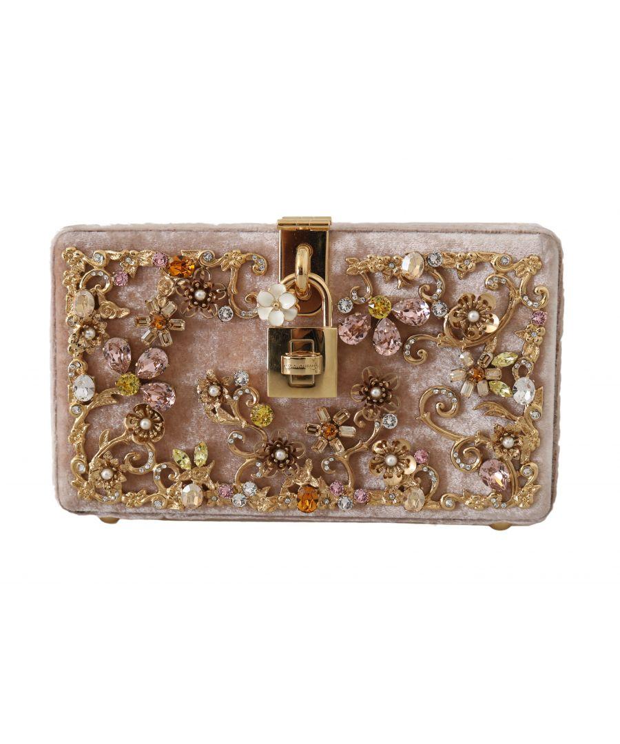 Image for Dolce & Gabbana Pink Velvet Gold Baroque Crystal Clutch Purse