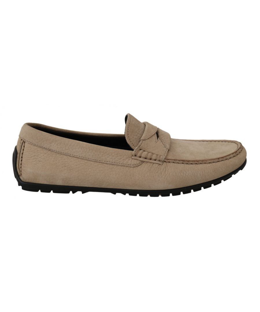 Image for Dolce & Gabbana Beige Leather Flat Loafers Casual Mens Shoes