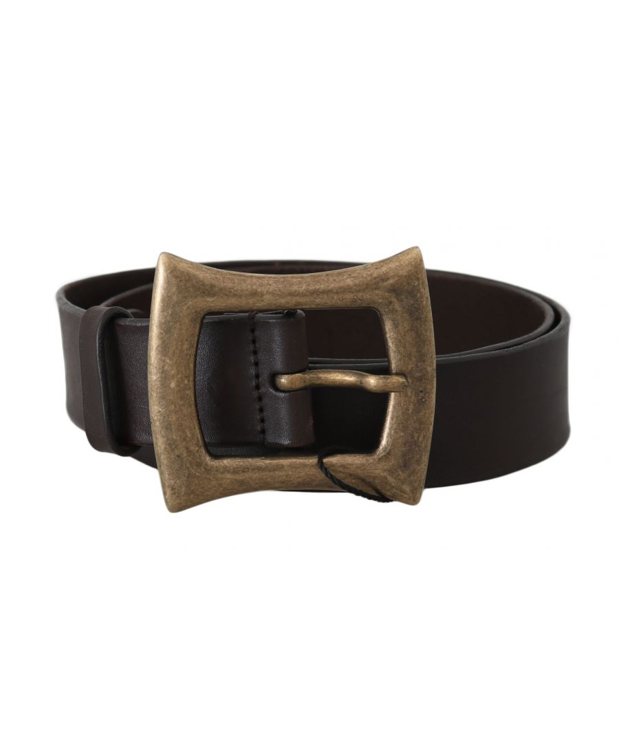 Image for Dolce & Gabbana Brown Leather Gold Buckle Wide Belt