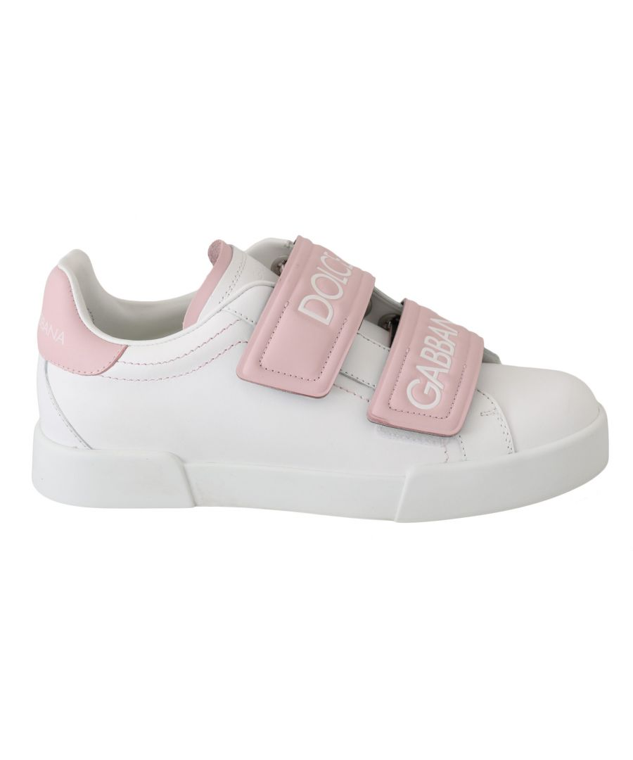 Image for Dolce & Gabbana White  Pink Leather Casual Sneakers Shoes