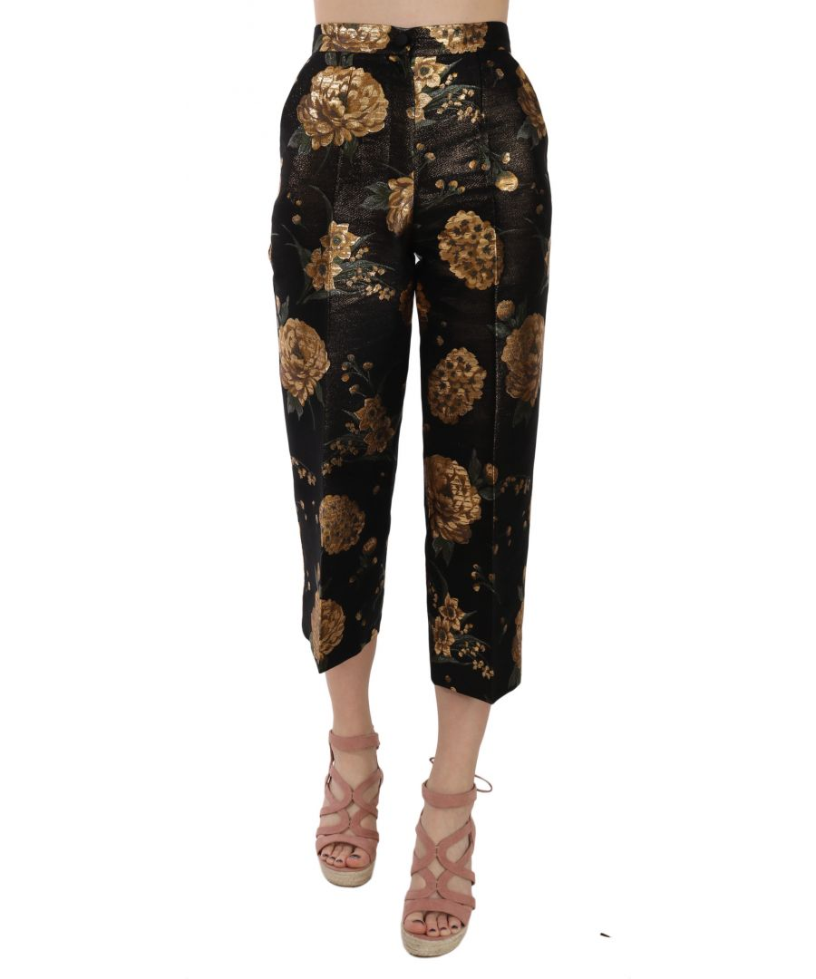 Image for Dolce & Gabbana Gold Floral Print Cropped Trouser Pants