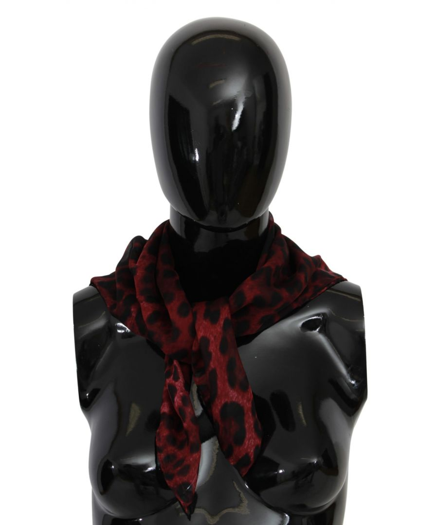 Image for Dolce & Gabbana Red Leopard Print Wrap Shawl Silk Scarf