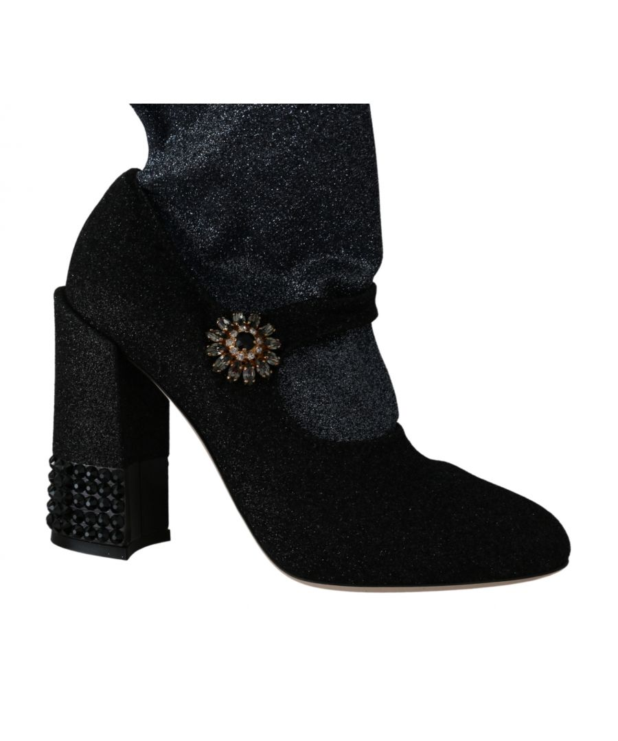 Image for Dolce & Gabbana Black Crystal Mary Janes Booties Shoes