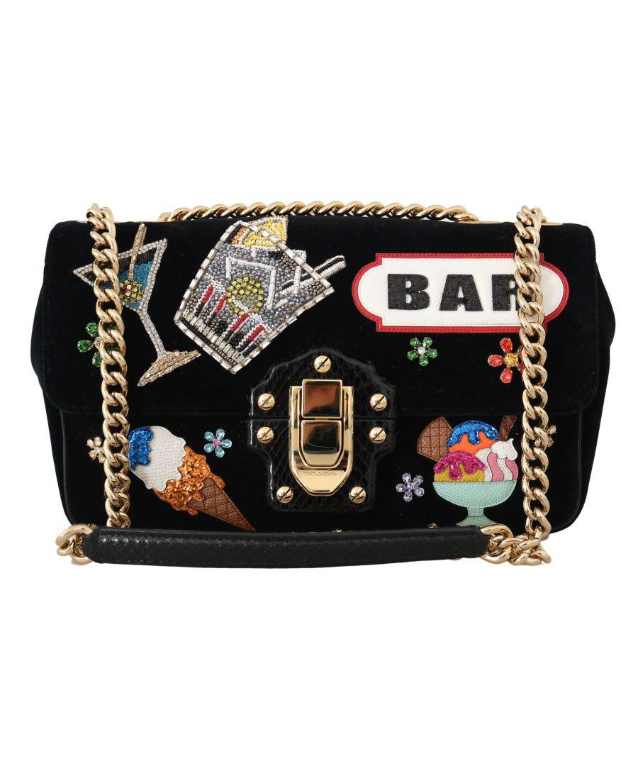 Image for Dolce & Gabbana LUCIA Black Velvet Crystal BAR Shoulder Purse