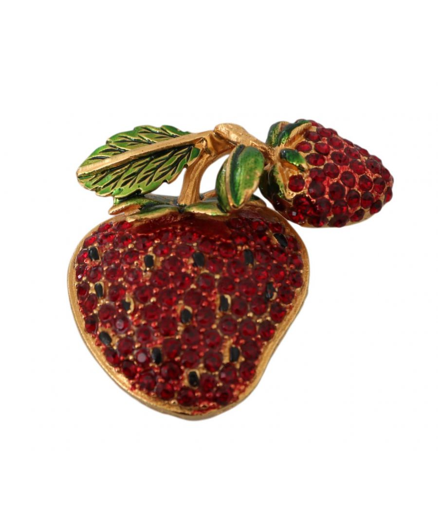 Image for Dolce & Gabbana Gold Plated Brass Red Crystal Strawberry Pin Brooch