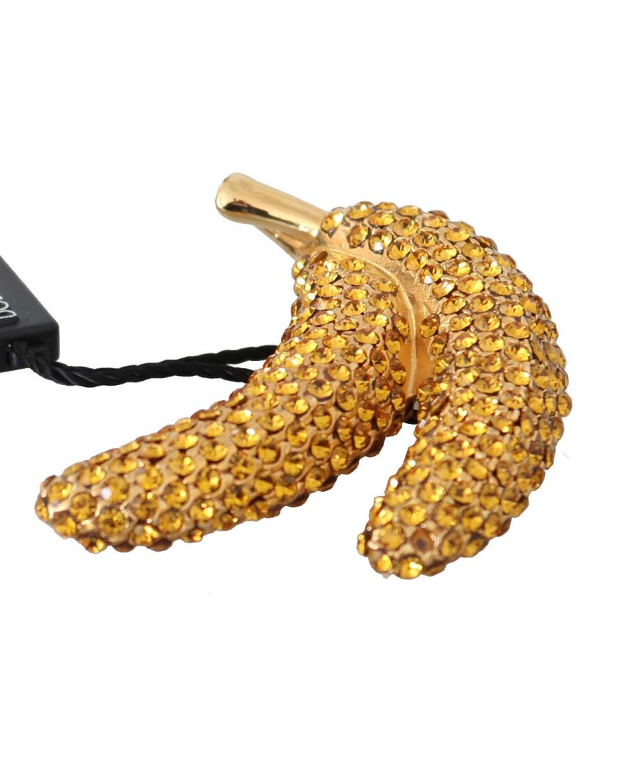Image for Dolce & Gabbana Banana Gold Yellow Brass Crystal Catwalk Pin Brooch