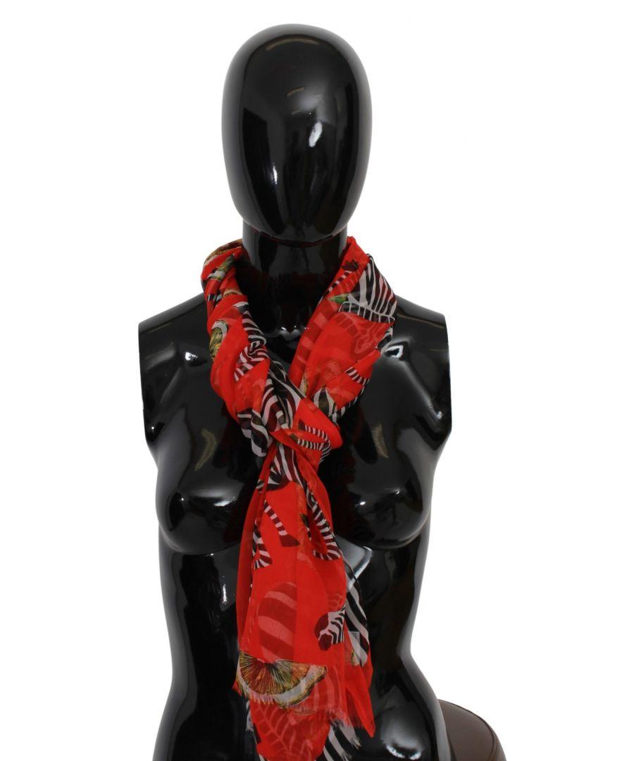 Image for Dolce & Gabbana Red Lemon Zebra Print Wrap Silk Shawl Scarf