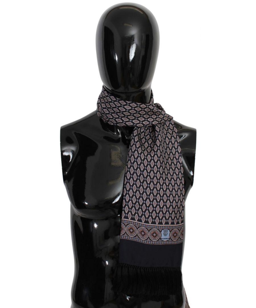 Image for Dolce & Gabbana Silk Multicolor Fringe Neck Wrap Shawl Scarf