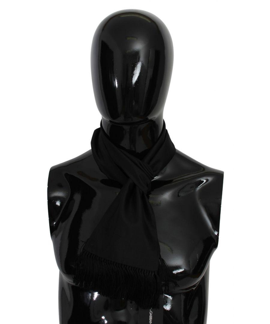 Image for Dolce & Gabbana Black Fringe Neck Wrap Shawl Silk Scarf