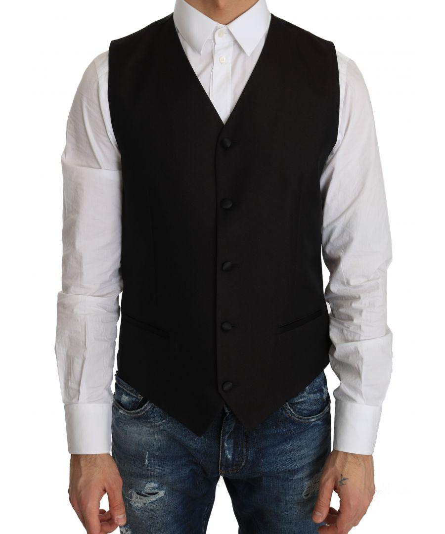 Image for Dolce & Gabbana Black Silk Dress Waistcoat