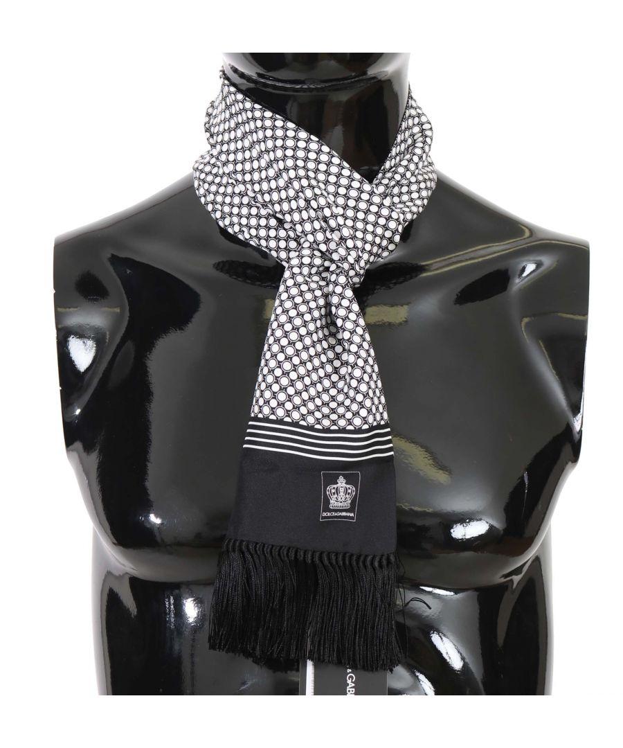Image for Dolce & Gabbana Black White Dot Print Crown Silk  Scarf