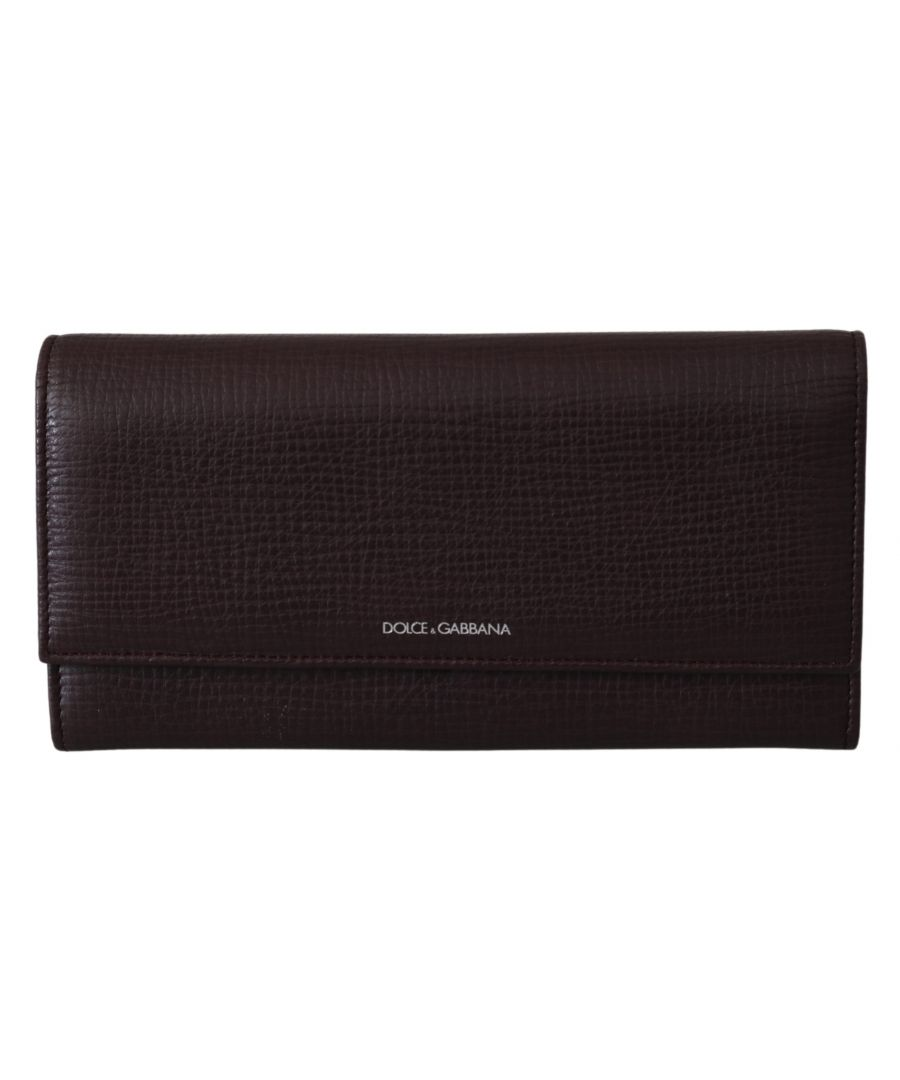 Image for Dolce & Gabbana Leather Bordeaux Bifold Continental Clutch Wallet
