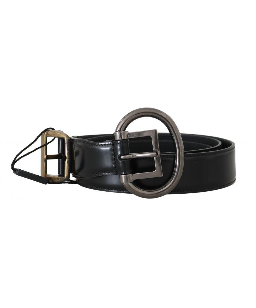 Image for Dolce & Gabbana Black Leather Brushed Gold Silver Buckle Belt