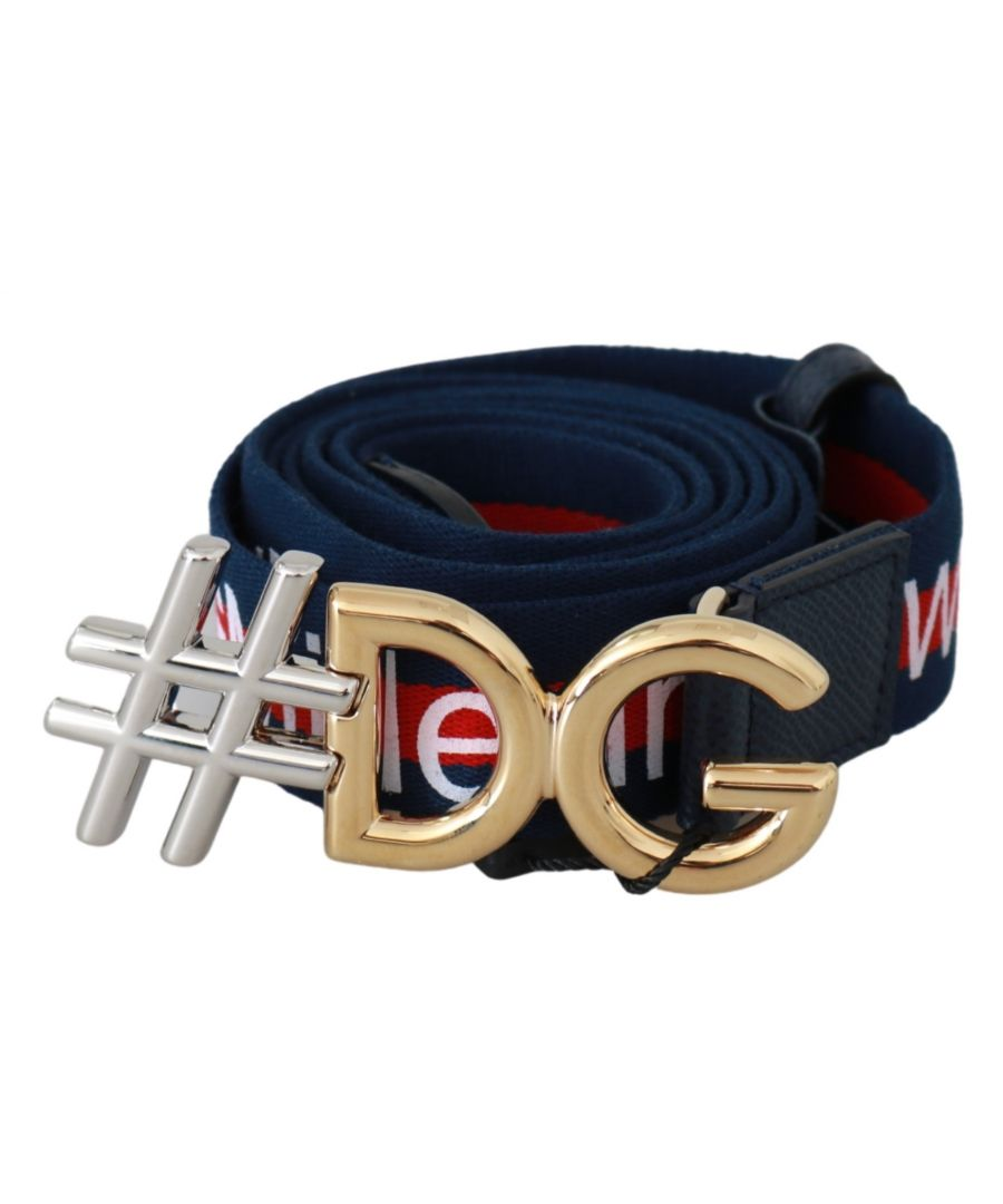 Image for Dolce & Gabbana Blue DG Gold #DGMillennials Leather Belt
