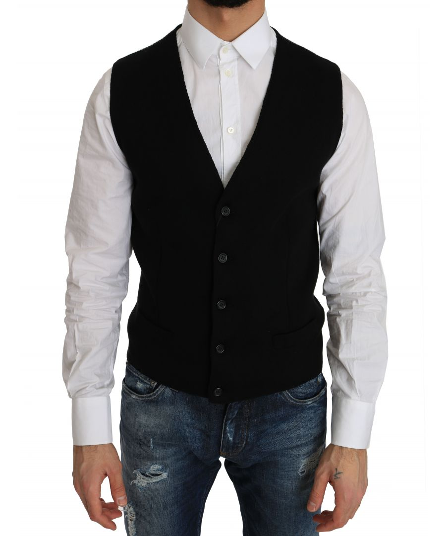 Image for Dolce & Gabbana Black Cotton Dress Woven Waistcoat