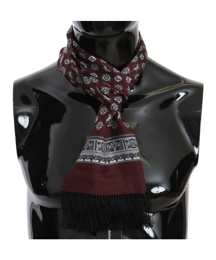 Image for Dolce & Gabbana Maroon Lion Floral Print Tassel Scarf