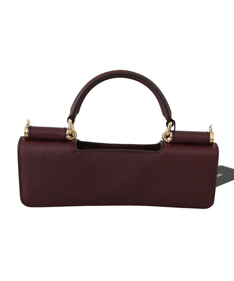 Image for Dolce & Gabbana Maroon Leather Push Button Accessory  Micro Bag