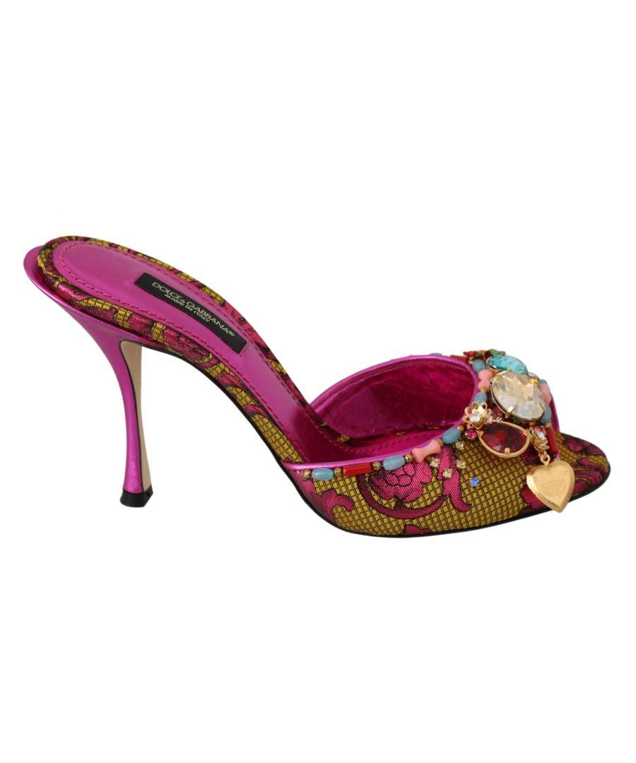 Image for Dolce & Gabbana Pink Crystal Heels Slides Shoes Sandals