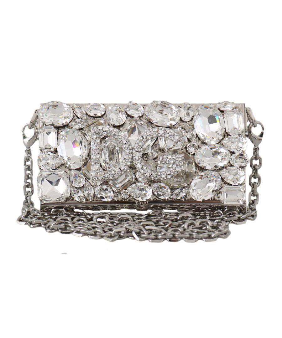 Image for Dolce & Gabbana Silver Metal Crystal Clutch Micro Cross Body BOX Bag
