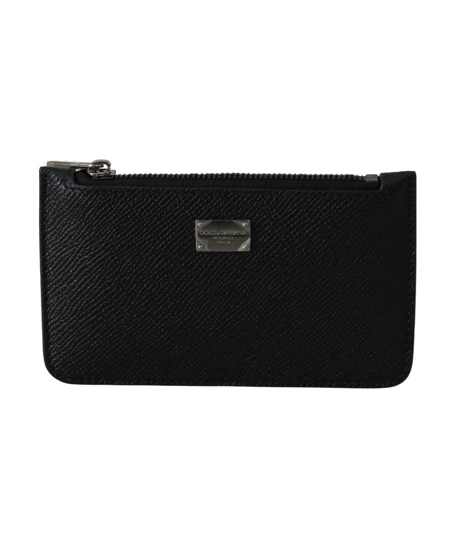 Image for Dolce & Gabbana Black 100% Leather Mens Coin Purse Logo Chain Wallet
