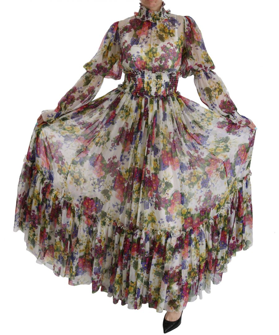Image for Dolce & Gabbana Multicolor Floral Silk Long Gown Dress