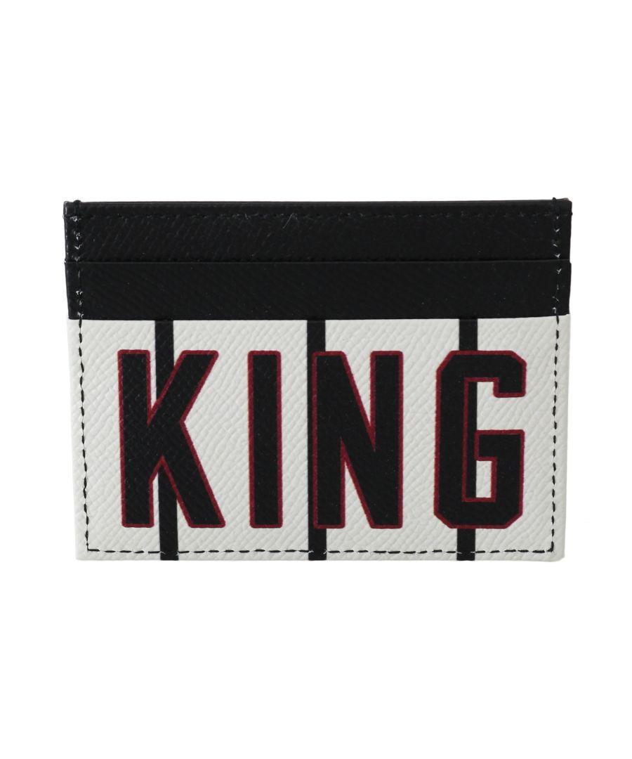 Image for Dolce & Gabbana Black White King Crown Leather Mens Cardholder Wallet