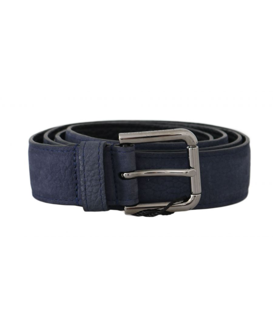 Image for Dolce & Gabbana Blue Deerskin Leather Silver Logo Buckle Belt