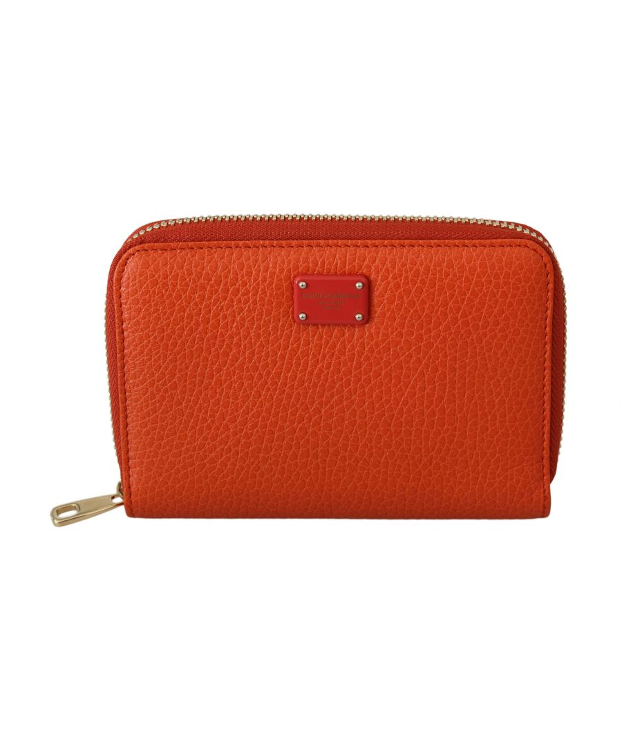 Image for Dolce & Gabbana Orange Leather Zipper Card Holder Coin Purse Wallet