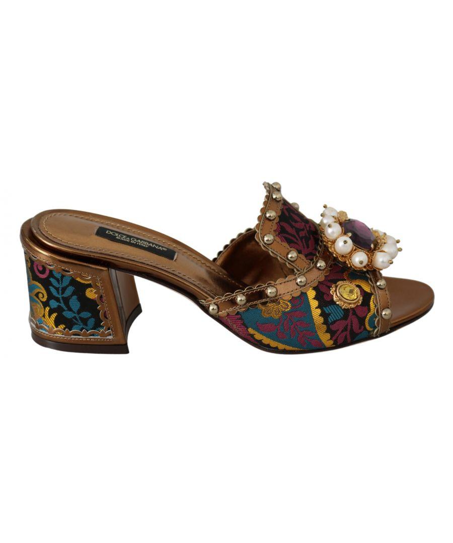 Image for Dolce & Gabbana Gold Crystal Heels Slides Shoes Sandals
