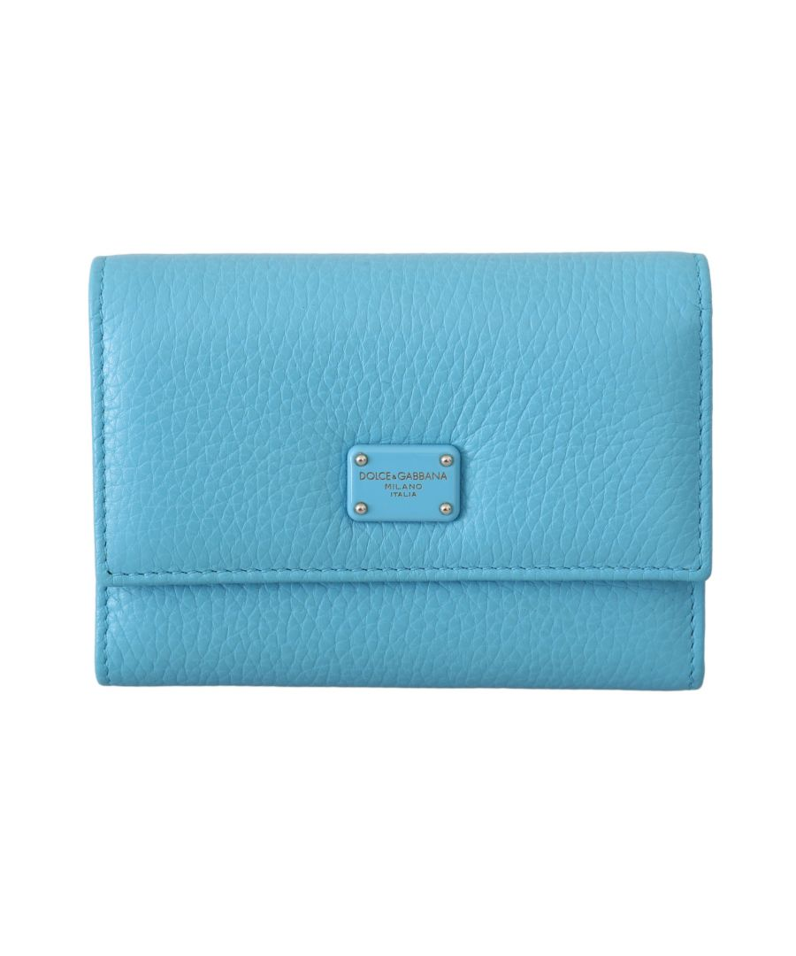 Image for Dolce & Gabbana Light Blue Leather Card Holder Tri Fold Purse
