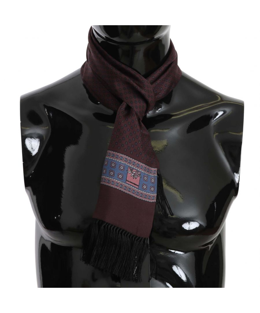 Image for Dolce & Gabbana Purple Baroque Silk Tassel Mens Scarf