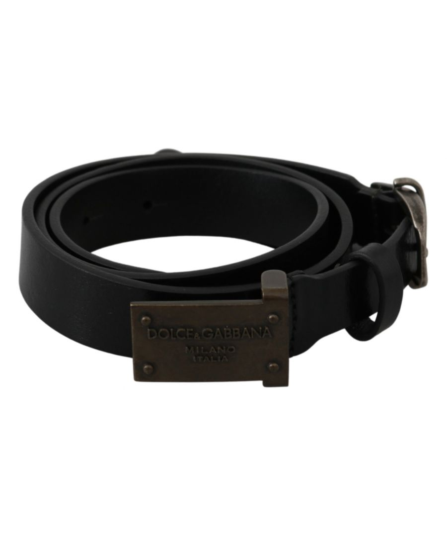 Image for Dolce & Gabbana Black Leather DG Logo Buckle Belt